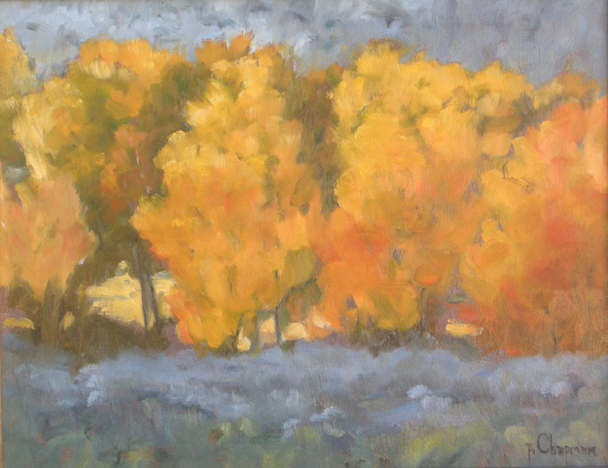 Autumn Red and Gold - Oil on wood panel - 11 x 14 inches