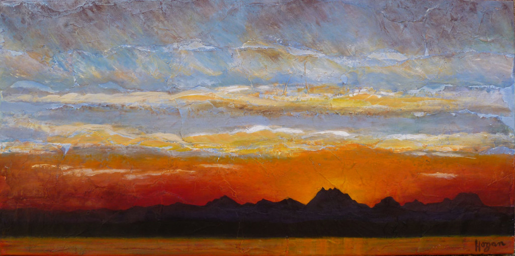 Another Cascade Sunset - acrylic on handmade paper - 29 x 18 inches