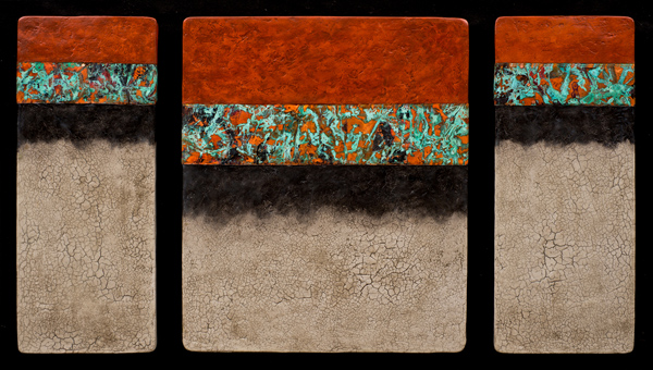 Canyon Walls OBC M+ triptych - hand cast paper, mixed media - 26 x 40 x 1.5 inches