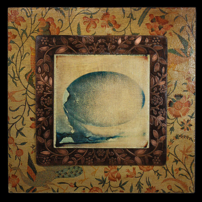 Egg - Image transfers, etched copper on wood - 16 x 16 inches