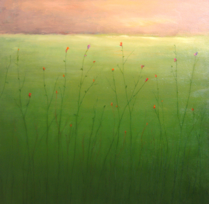 Field with Orange and Green - Oil on canvas - 24 x 24 inches