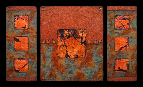 Earth & Fire L sage triptych - hand cast paper, mixed media - 32 x 55 x 1.5 inches