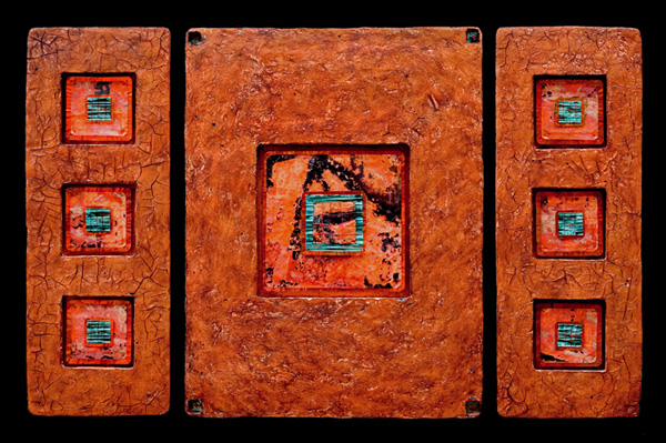 Jewels from Within L triptych - hand cast paper, mixed media - 32 x 54 x 1.5 inches