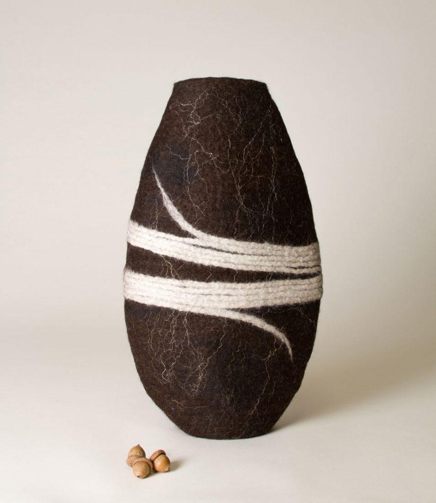 Loose Ends - Handmade wool felt and flax fibers - 16 x 9 x 4