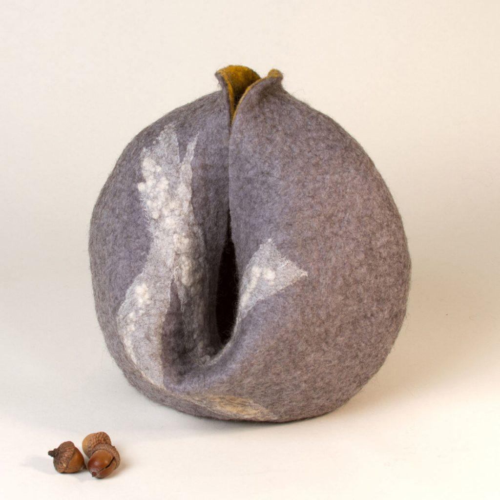 Rise - Handmade wool felt, silk -  9 x 9 x 9