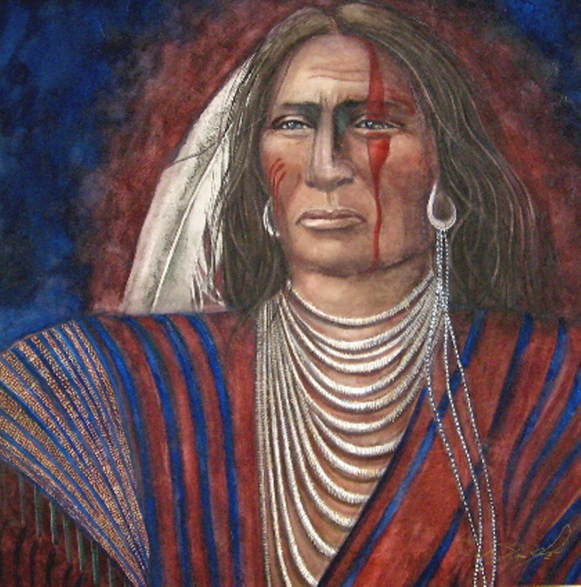 Lakota Warrior - Watercolor - 22 x 22 inches