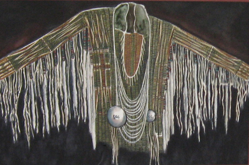 Plains Ceremonial Robe - Watercolor - 22 x 30 inches