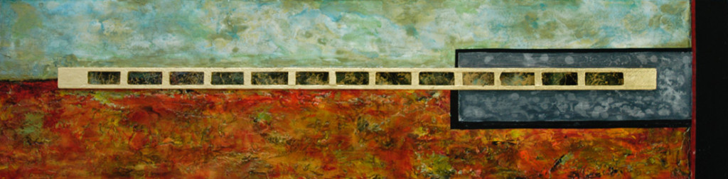 New World - acrylic and printmaking on wood panel - 12 x 48 inches