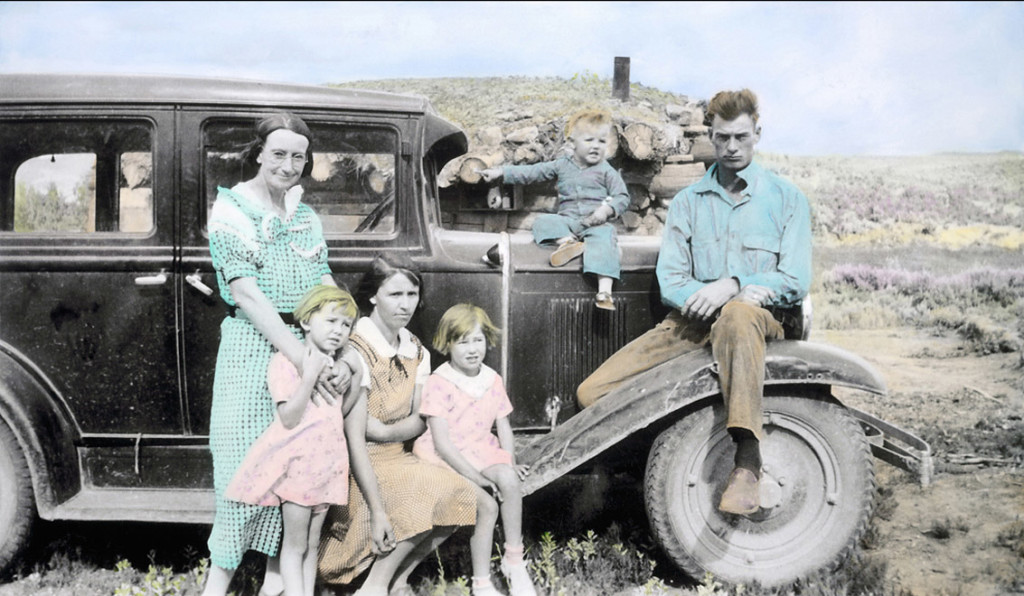 Depression Era Family - Hand painted B&W historical photo - various limited sizes available