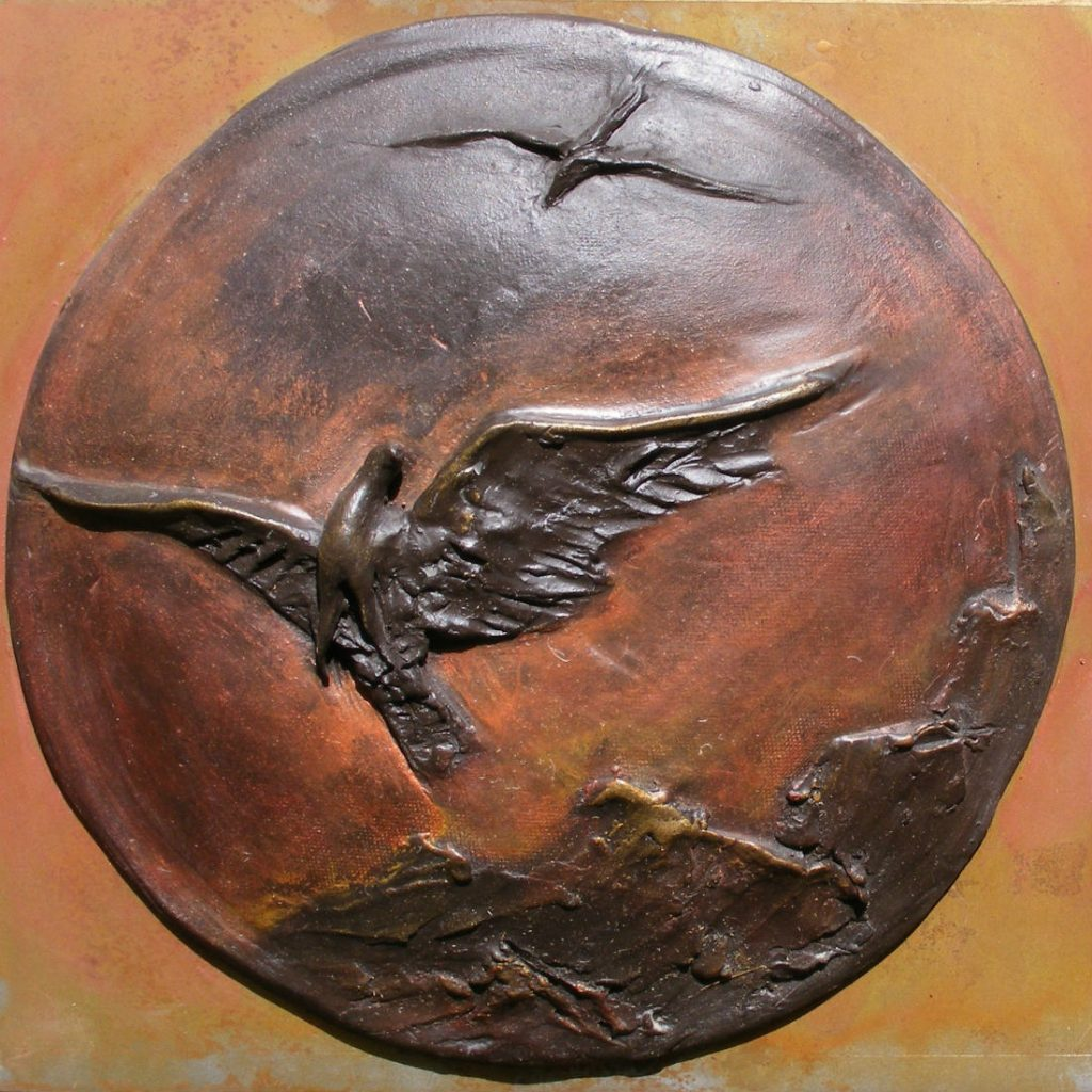 gzipperer_Rising-Clay on patinaed steel with acrylic-12 w X 12 h X 3 d