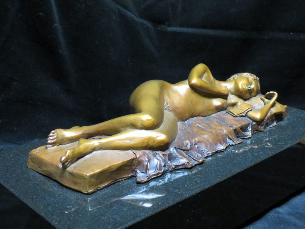 "The Notebook - Bronze on Black Granite -- 7"" w x 14"" d x 5"" h"