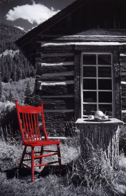 Red Chair - Hand painted B&W photo - various sizes available
