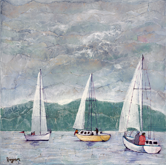Sailing On A Misty Morning - acrylic on handmade paper - 30 x 30 inches