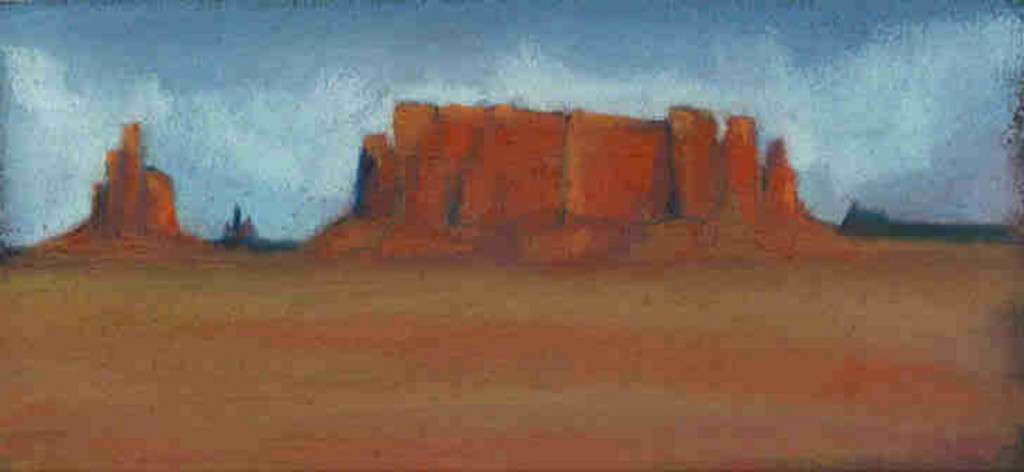 The Valley of Monuments - Pastel - 12 x 6 inches
