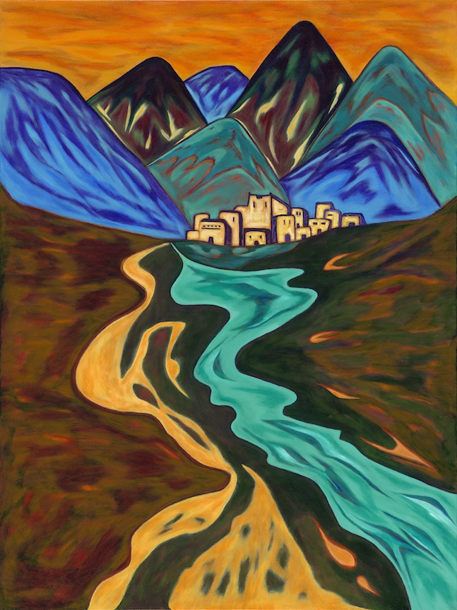 Mountain Pueblo - Acrylic on Canvas - 40 x 30
