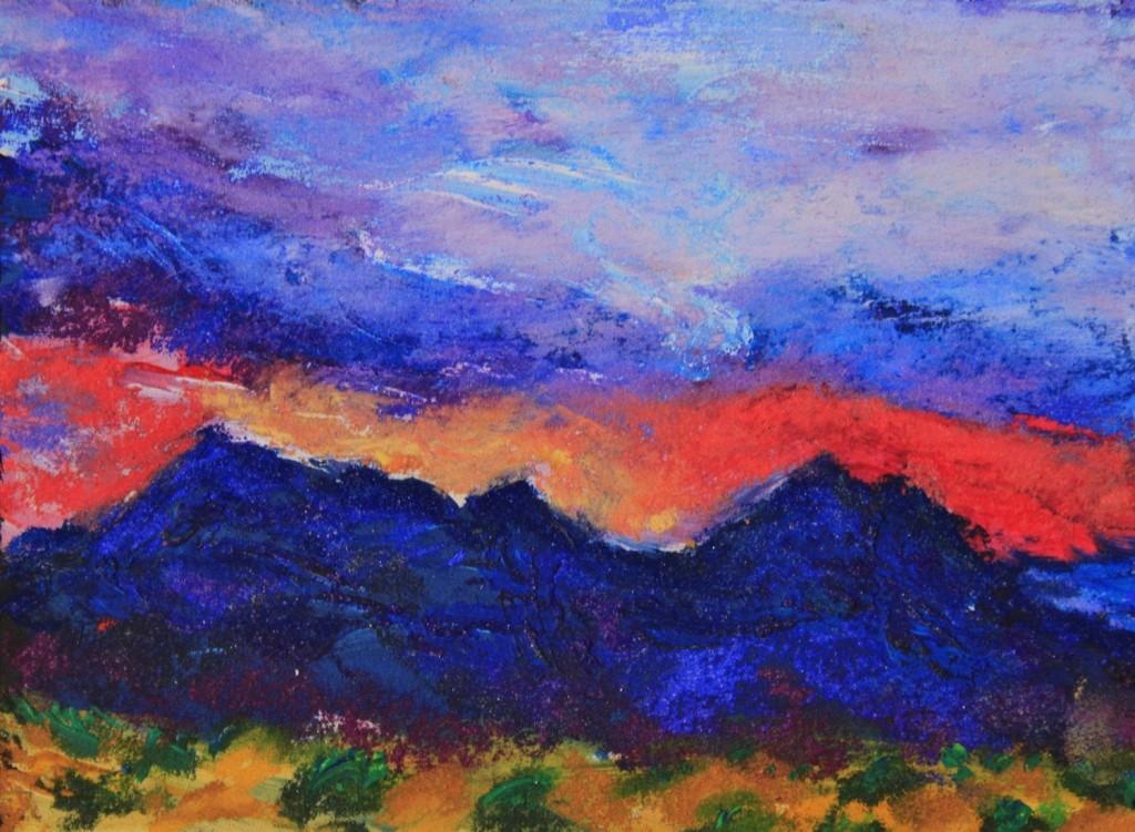 Cerrillos Hills Sunset - Pastel - 5x7