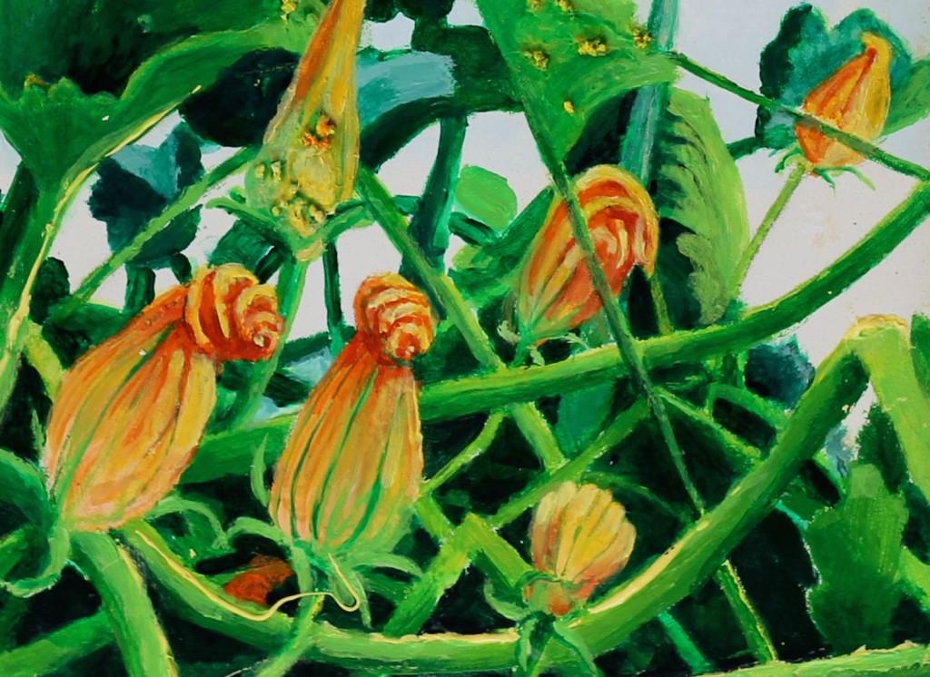 Squash Blossoms - Acrylic - 16x8