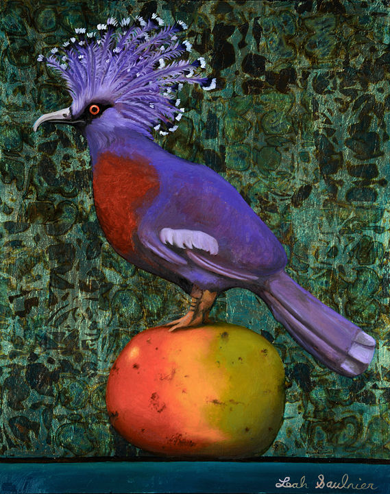 Victoria Pigeon on Mango - Oil and Metal Leaf - 20 x16