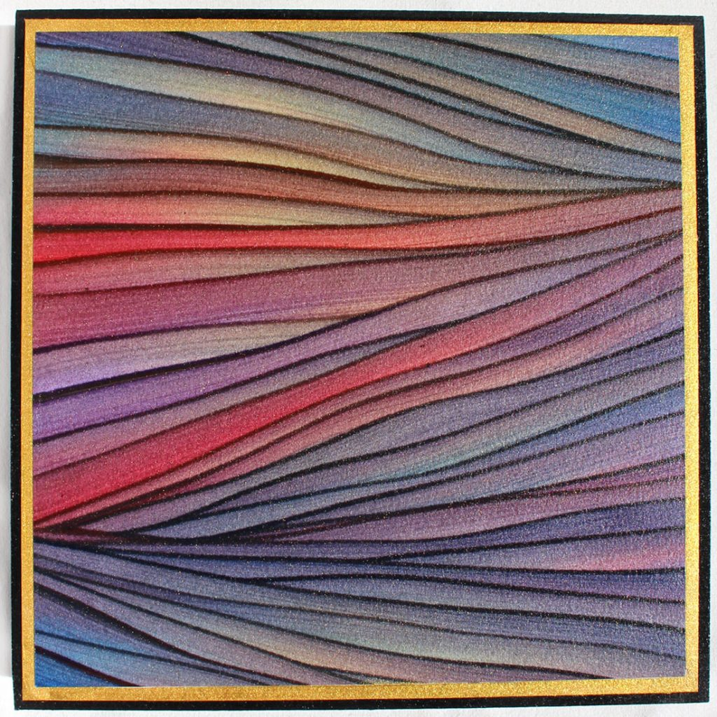 Alluvial Sunset - Mixed Media Acrylic on Panel - 8x8