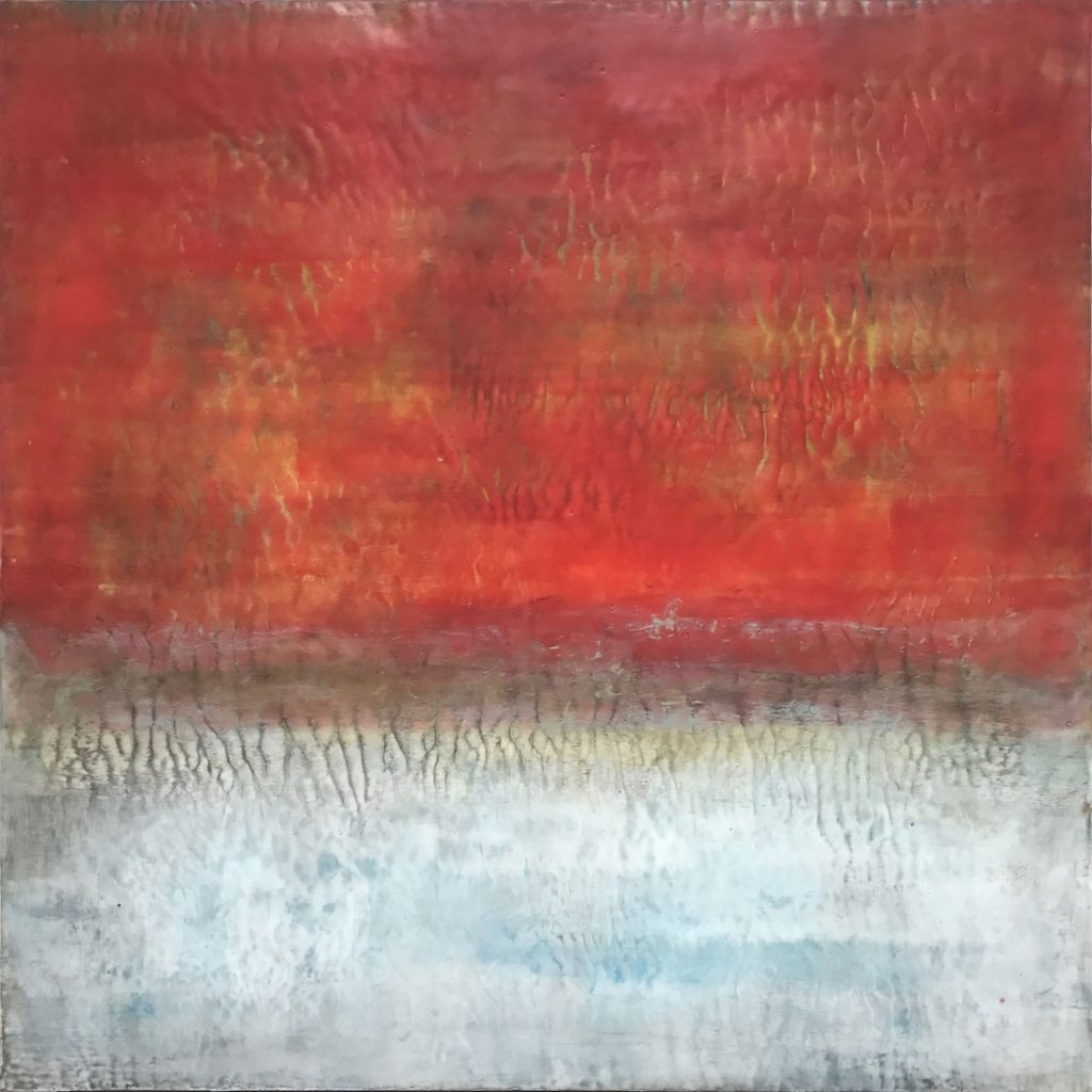 SpringThaw - Encaustic on Wood - 36 x 36