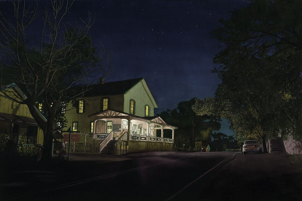The Boarding House - Watercolor on Board - 34 x 54