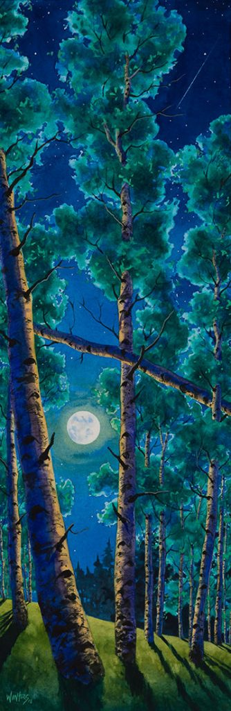 Summer Aspen Moon - Watercolor - 29 x 9