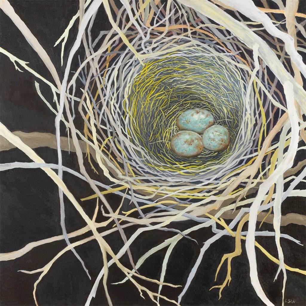 Reliquary / Scrub Jay Nest - Oil - 24 x 24