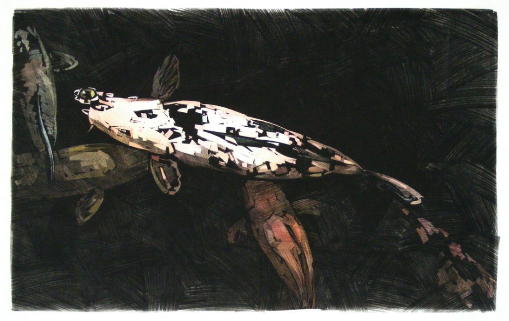 Koi 32 - Hand Colored Monotype - 18 x 28
