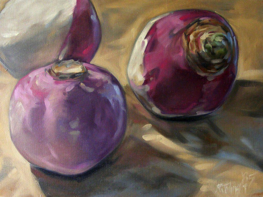 Three Turnips on Kraft - Oil on Linen Canvas - 18 x 24
