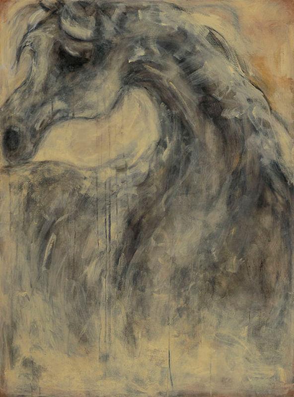 Weeping Arabian -- Charcoal, acrylic on canvas -- 36 x 48