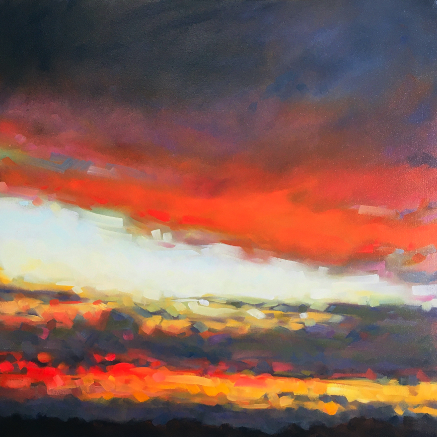 Santa Fe Looking West 210709 -  Oil Color on Canvas - 24 x 24